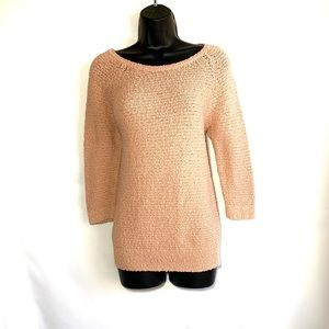 LOFT, 3/4 sleeve pink crew neck sweater, euc